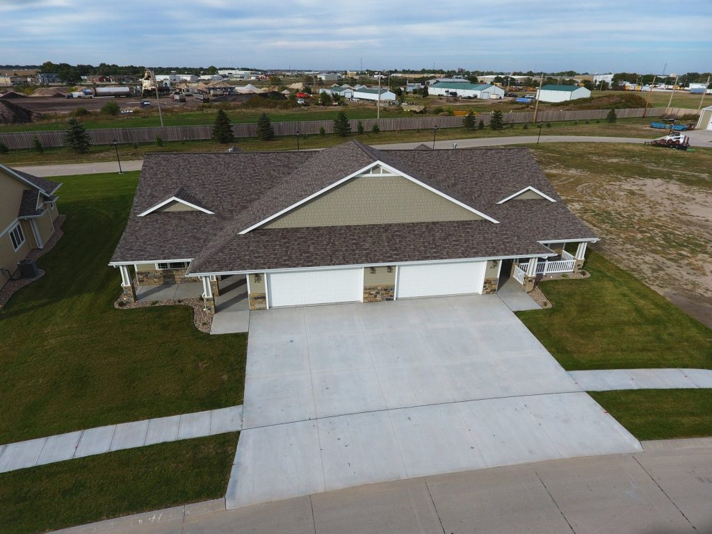 Aerial View of Duplex with Connected Driveway