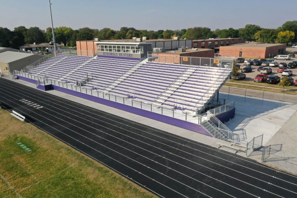 Grandstand next to an athletic track